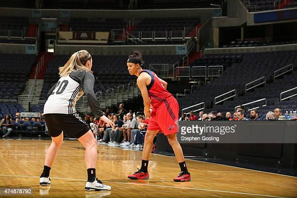 Natasha Cloud of the Washington Mystics handles the ball against the Minnesota Lynx during an Analytic Scrimmage at the Verizon Center on May 26 2015...