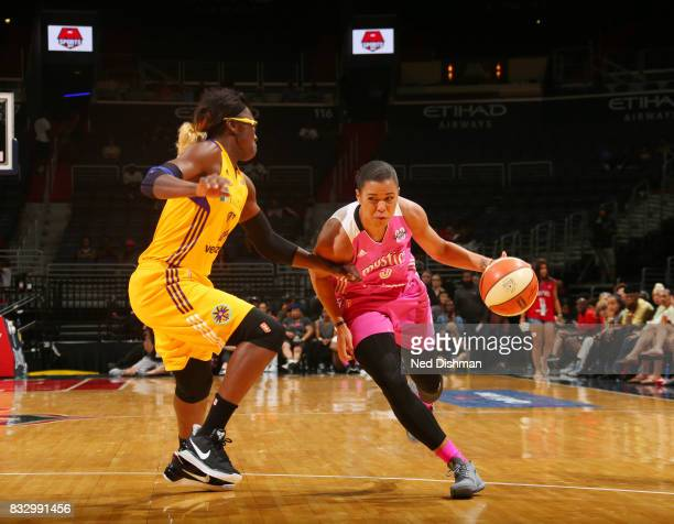 Natasha Cloud of the Washington Mystics handles the ball against the Los Angeles Sparks on August 16 2017 at the Verizon Center in Washington DC NOTE...