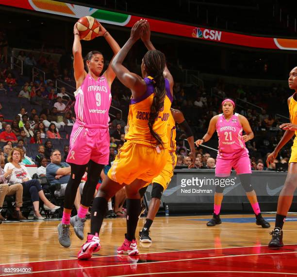 Natasha Cloud of the Washington Mystics passes the ball against the Los Angeles Sparks on August 16 2017 at the Verizon Center in Washington DC NOTE...
