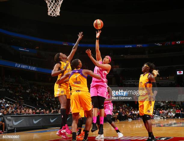 Natasha Cloud of the Washington Mystics shoots the ball against the Los Angeles Sparks on August 16 2017 at the Verizon Center in Washington DC NOTE...