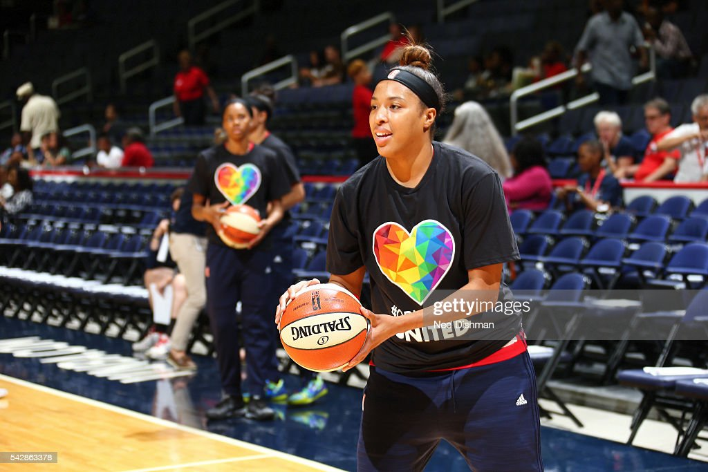 <a gi-track='captionPersonalityLinkClicked' href=/galleries/search?phrase=Natasha+Cloud&family=editorial&specificpeople=7418023 ng-click='$event.stopPropagation()'>Natasha Cloud</a> #15 of the Washington Mystics warms up before the game against the Phoenix Mercury during a WNBA game on June 24, 2016 at Verizon Center in Washington, DC.