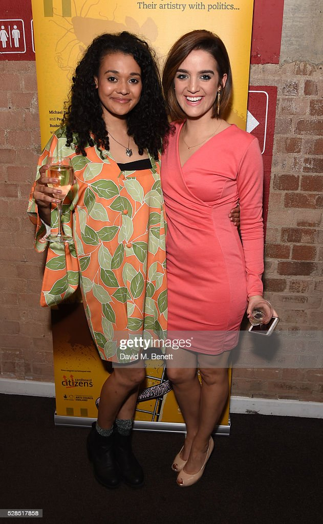 Natasha Cottriall and Lauren Samuels attend the World Premiere press night performance of 'The Buskers Opera' at The Park Theatre on May 5, 2016 in London, England.