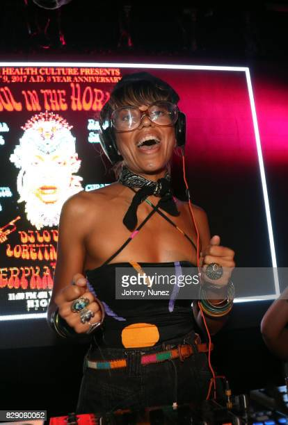 Natasha Diggs spins at Soul In The Horn 3rd Anniversary With Erykah Badu at Highline Ballroom on August 9 2017 in New York City