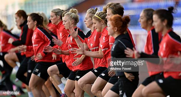 Natasha Dowie and the rest of the Liverpool Ladies in action during a training session at Select Security Stadium on September 24 2015 in Widnes...