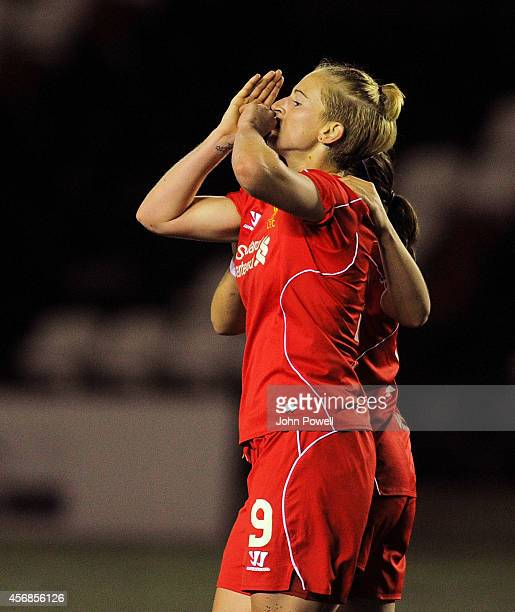 Natasha Dowie of Liverpool Celabrates scoring the winning goal during the UEFA Womens Champions League last 32 fixture between Liverpool Ladies and...