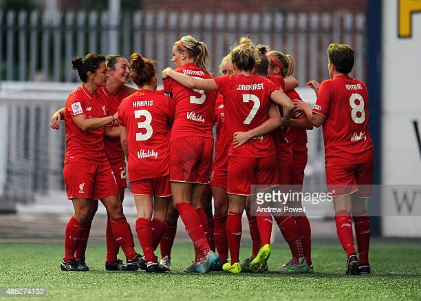 Natasha Dowie of Liverpool Ladies celebrates after scoring during the Womens Super League match between Liverpool Ladies and Sunderland AFC Ladies at...