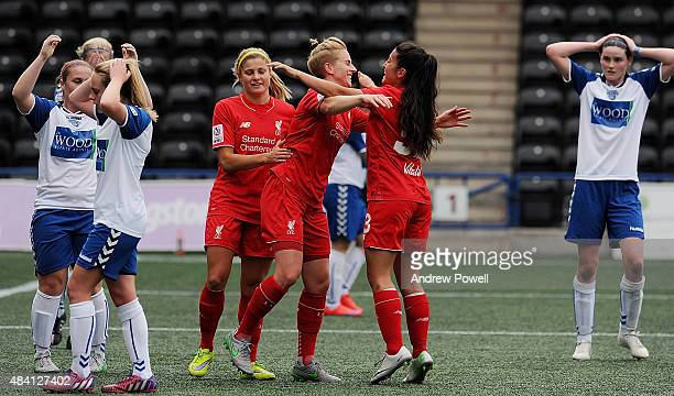 Natasha Dowie of Liverpool Ladies celebrates after scoring the opening goal during the Continental Tyres Cup match between Liverpool Ladies v Durham...