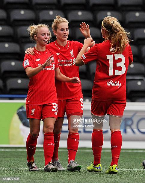 Natasha Dowie of Liverpool Ladies celebrates after scoring the second during the Womens Super League match between Liverpool Ladies and Bristol...