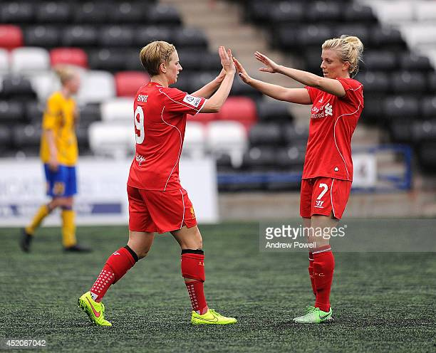 Natasha Dowie of Liverpool Ladies celebrates after scoring the third goal during the FA WSL Continental Cup match between Liverpool Ladies and...