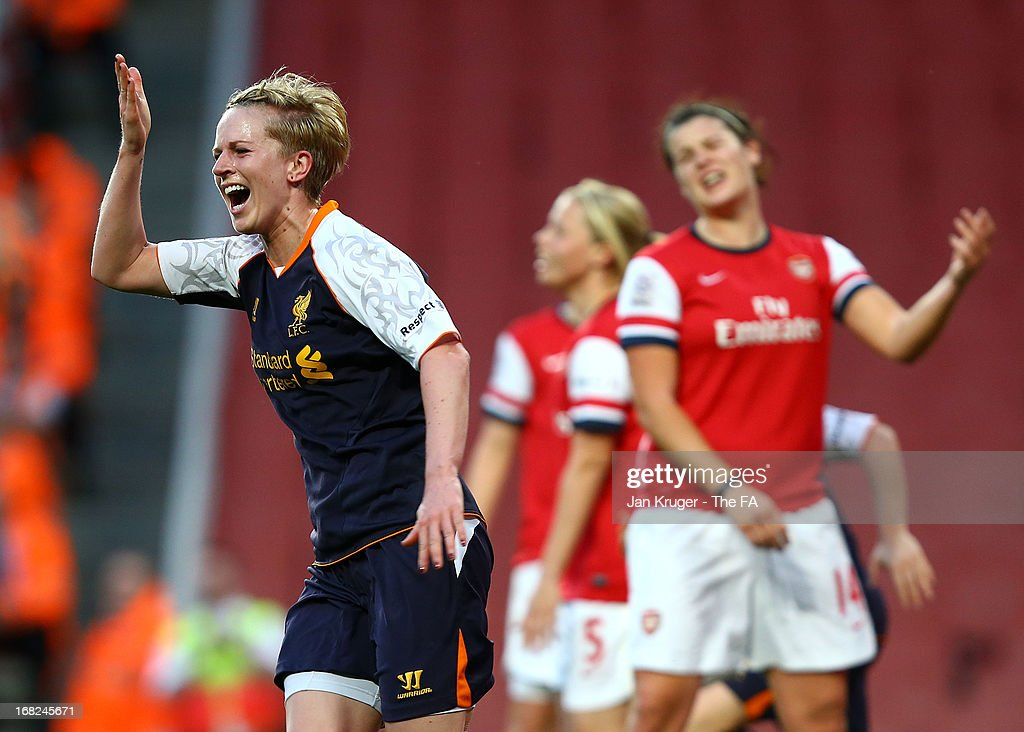 <a gi-track='captionPersonalityLinkClicked' href=/galleries/search?phrase=Natasha+Dowie&family=editorial&specificpeople=4279078 ng-click='$event.stopPropagation()'>Natasha Dowie</a> of Liverpool Ladies celebrates her goal during the FA WSL Continental Cup match between Arsenal Ladies FC and Liverpool Ladies FC at Emirates Stadium on May 7, 2013 in London, England.