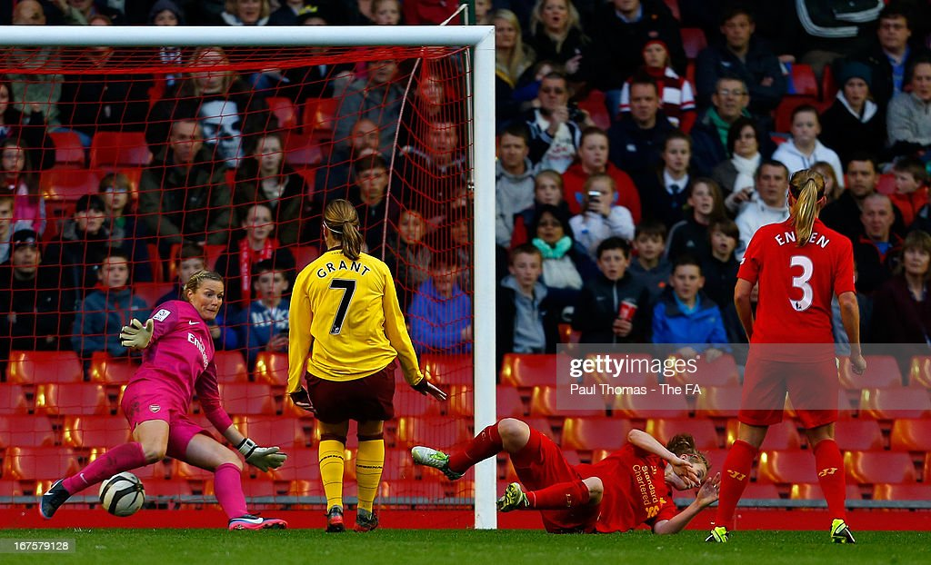 <a gi-track='captionPersonalityLinkClicked' href=/galleries/search?phrase=Natasha+Dowie&family=editorial&specificpeople=4279078 ng-click='$event.stopPropagation()'>Natasha Dowie</a> (2nd R) of Liverpool scores a goal during the Womens FA Cup Semi Final match between Liverpool Ladies FC and Arsenal Ladies FC at Anfield on April 26, 2013 in Liverpool, England.