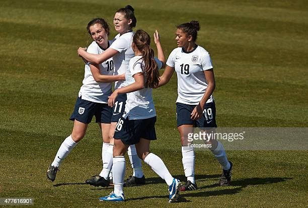 Natasha Flint of England celebrates after scoring during the U19 friendly match between England and France at La Manga Club on March 10 2014 in La...