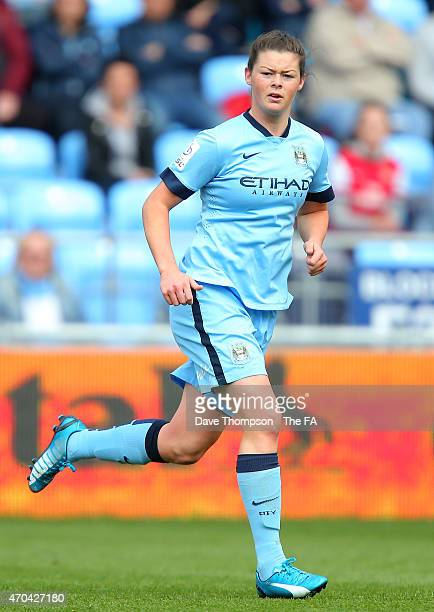 Natasha Flint of Manchester City during the Women's Super League match between Manchester City and Arsenal at the Manchester City Academy Stadium on...
