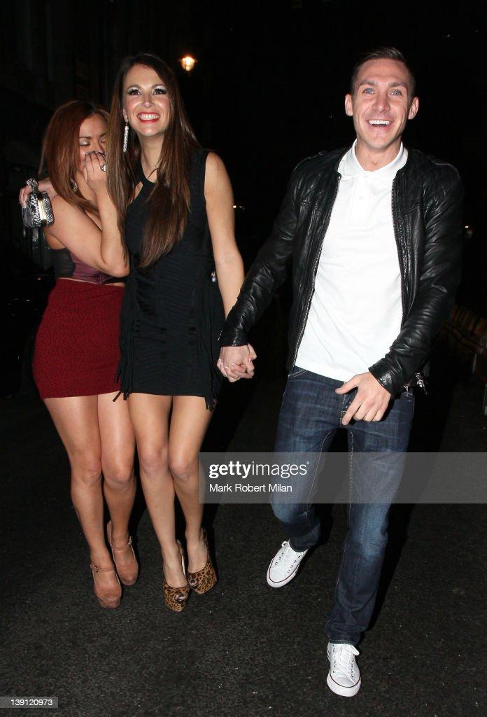 Natasha Giggs (C) and Kirk Norcross at Anaya night club on February 16, 2012 in London, England.