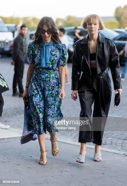 Natasha Goldenberg and Vika Gazinskaya outside Miu Miu Cruise Collection during Paris Fashion Week Haute Couture Fall/Winter 20172018 Day One on July...
