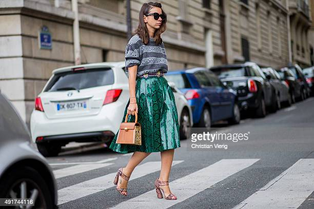 Natasha Goldenberg at Miu Miu during the Paris Fashion Week Womenswear Spring/Summer 2016 on Oktober 7 2015 in Paris France