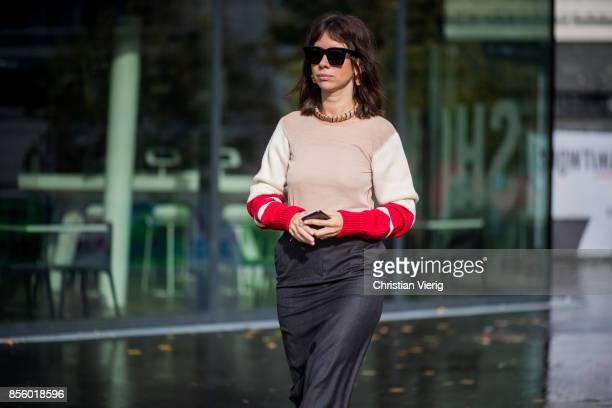 Natasha Goldenberg is seen outside Haider Ackermann during Paris Fashion Week Spring/Summer 2018 on September 30 2017 in Paris France