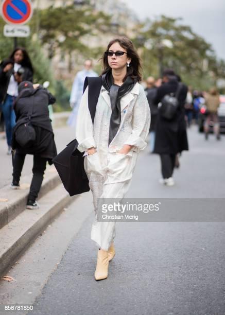 Natasha Goldenberg seen outside Giambattista Valli during Paris Fashion Week Spring/Summer 2018 on October 2 2017 in Paris France