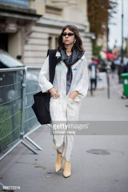Natasha Goldenberg seen outside Sacai during Paris Fashion Week Spring/Summer 2018 on October 2 2017 in Paris France