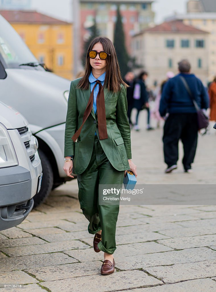 Natasha Goldenberg wearing a green Gucci suit and loafers seen outside Gucci during Milan Fashion Week Fall/Winter 2016/17 on February 24 2016 in...