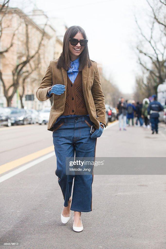 Natasha Goldenberg wears Prada on February 26 2015 in Milan Italy