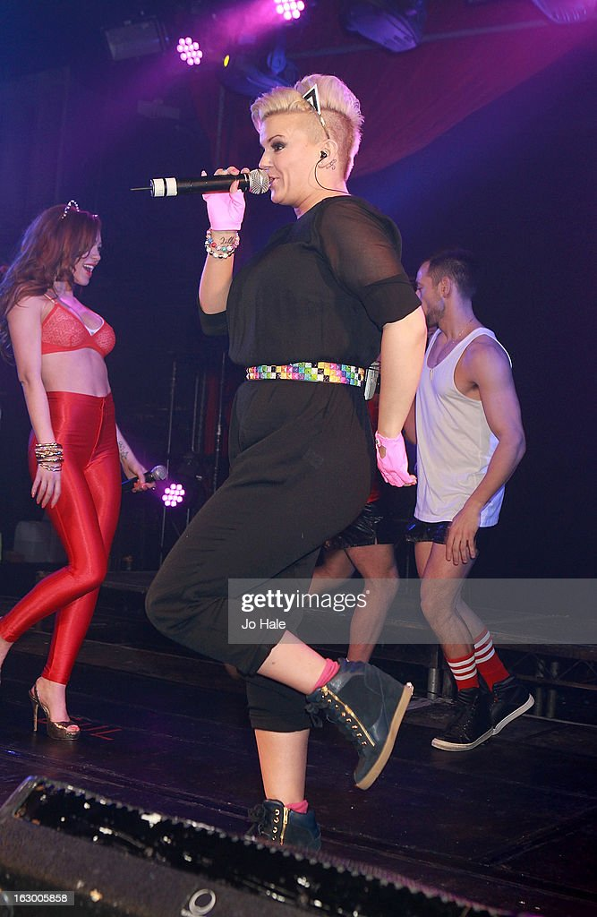Natasha Hamilton and Kerry Katona of Atomic Kitten perform on stage at G-A-Y on March 2, 2013 in London, England.