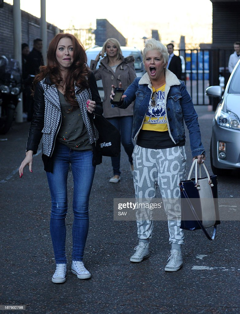 Natasha Hamilton and Kerry Katona of <a gi-track='captionPersonalityLinkClicked' href=/galleries/search?phrase=Atomic+Kitten&family=editorial&specificpeople=157757 ng-click='$event.stopPropagation()'>Atomic Kitten</a> pictured at the ITV studios on May 2, 2013 in London, England.
