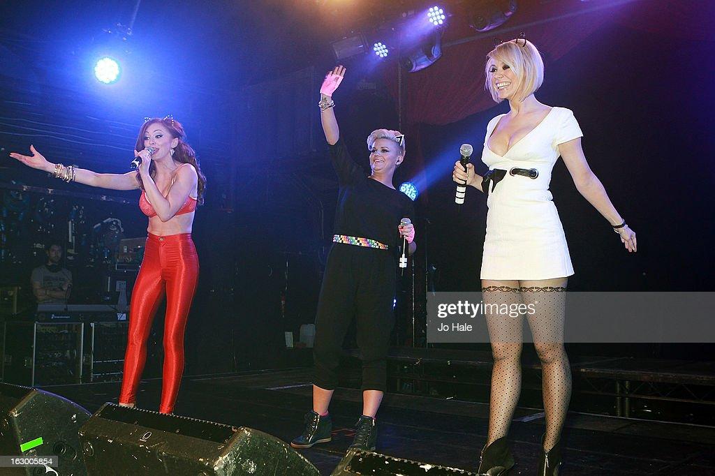 Natasha Hamilton, Kerry Katona and Liz McClarnon of Atomic Kitten perform on stage at G-A-Y on March 2, 2013 in London, England.