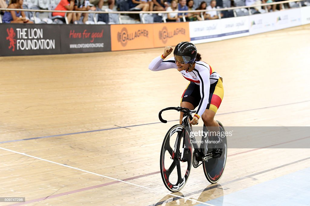 Natasha Hansen celebrates finishing first in the Elite Women Keirin final during the New Zealand Track National Championships on February 12, 2016 in Cambridge, New Zealand.