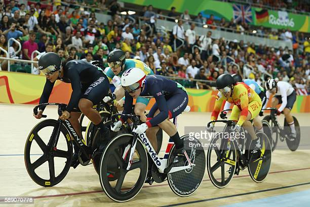 Natasha Hansen of New Zealand and Rebecca James of Great Britain compete during the women's keirin first round on Day 8 of the Rio 2016 Olympic Games...
