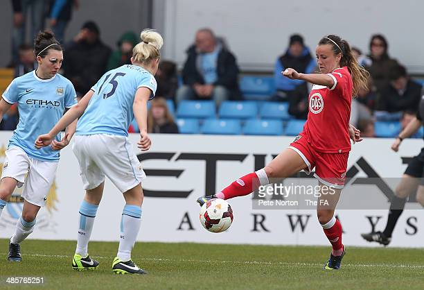 Natasha Harding of Bristol Academy Women controls the ball watched by Chelsea Nightingale of Manchester City Women during the FA WSL 1 match between...