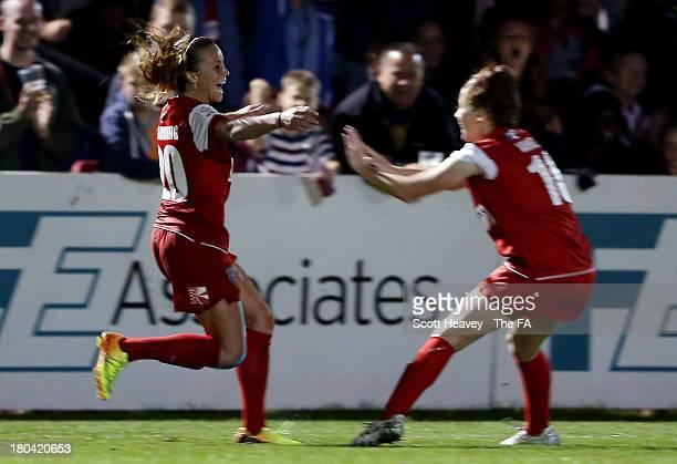 Natasha Harding of Bristol celebrates after scoring their first goal during The FA WSL match between Bristol Academy Women and Birmingham City Ladies...