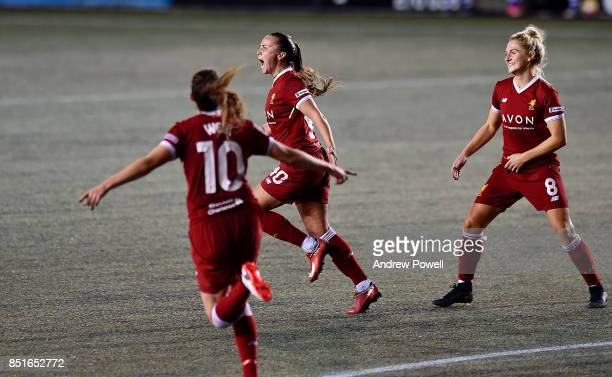 Natasha Harding of Liverpool Ladies celebrates after scoring the opening goal during the match between Everton Ladies and Liverpool Ladies at Select...
