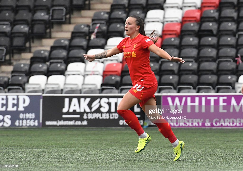 Natasha Harding of Liverpool Ladies celebrates her goal during the Liverpool Ladies v Doncaster Belles WSL 1 match on August 27 2016 in Widnes England