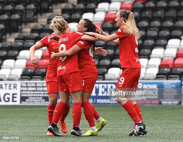 Natasha Harding of Liverpool Ladies celebrates her goal with team mates during the Liverpool Ladies v Doncaster Rovers Belles WSL 1 match on August...