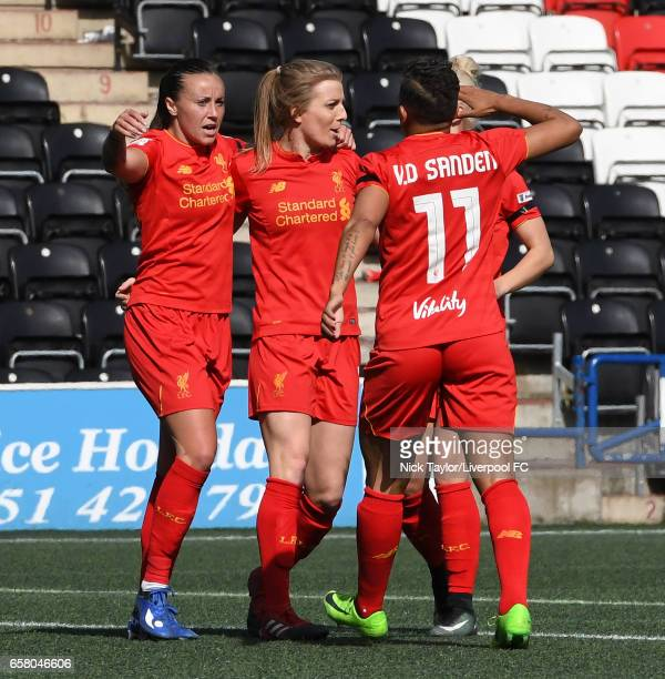Natasha Harding of Liverpool Ladies celebrates her goal with team mate Kate Longhurst and Shanice Van De Sanden during SSE FA Women's Cup match...