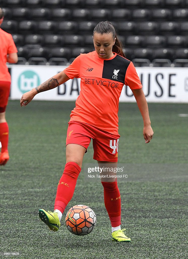 Natasha Harding of Liverpool Ladies during the warmup before the Liverpool Ladies v Doncaster Rovers Belles WSL 1 match on August 27 2016 in Widnes...