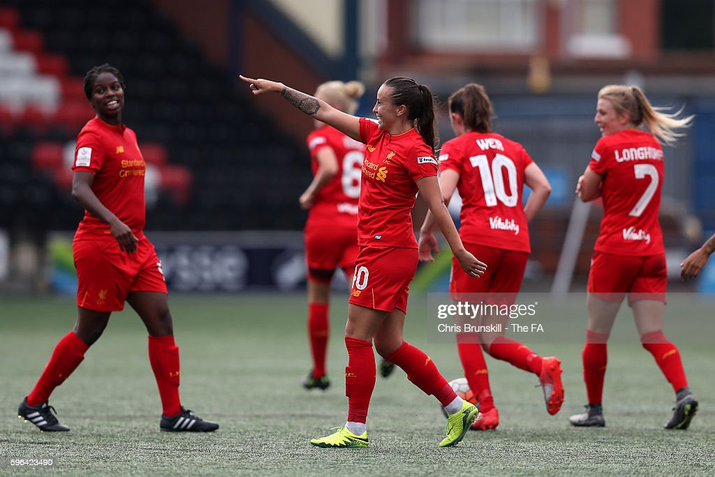 Natasha Harding of Liverpool Ladies FC celebrates scoring the opening goal during the FA WSL match between Liverpool Ladies FC and Doncaster Rovers...