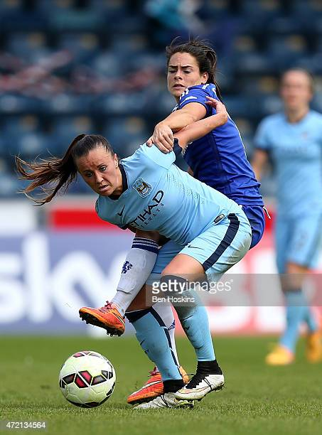 Natasha Harding of Manchester City holds off pressure from Claire Rafferty of Chelsea during the Women's FA Cup Semi Final match between Chelsea...