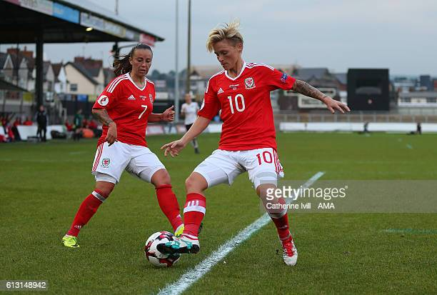 Natasha Harding of Wales Women and Jess Fishlock of Wales Women during the Women's Euro 2017 qualifier match between Wales Women and Austria Women at...