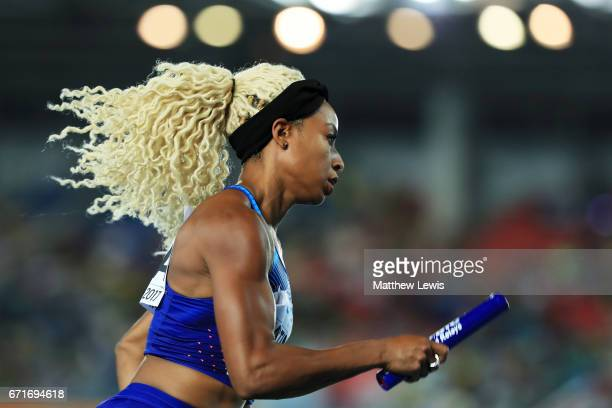 Natasha Hastings of team USA competes in heat one of the Women's 4 x 400 Meters Relay during the IAAF/BTC World Relays Bahamas 2017 at Thomas...