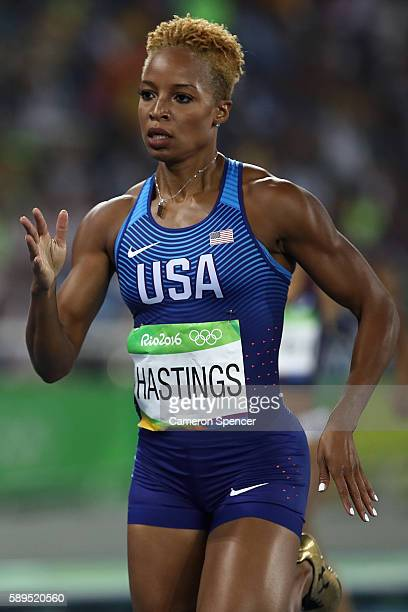 Natasha Hastings of the United States competes in the Women's 400 meter semifinal on Day 9 of the Rio 2016 Olympic Games at the Olympic Stadium on...