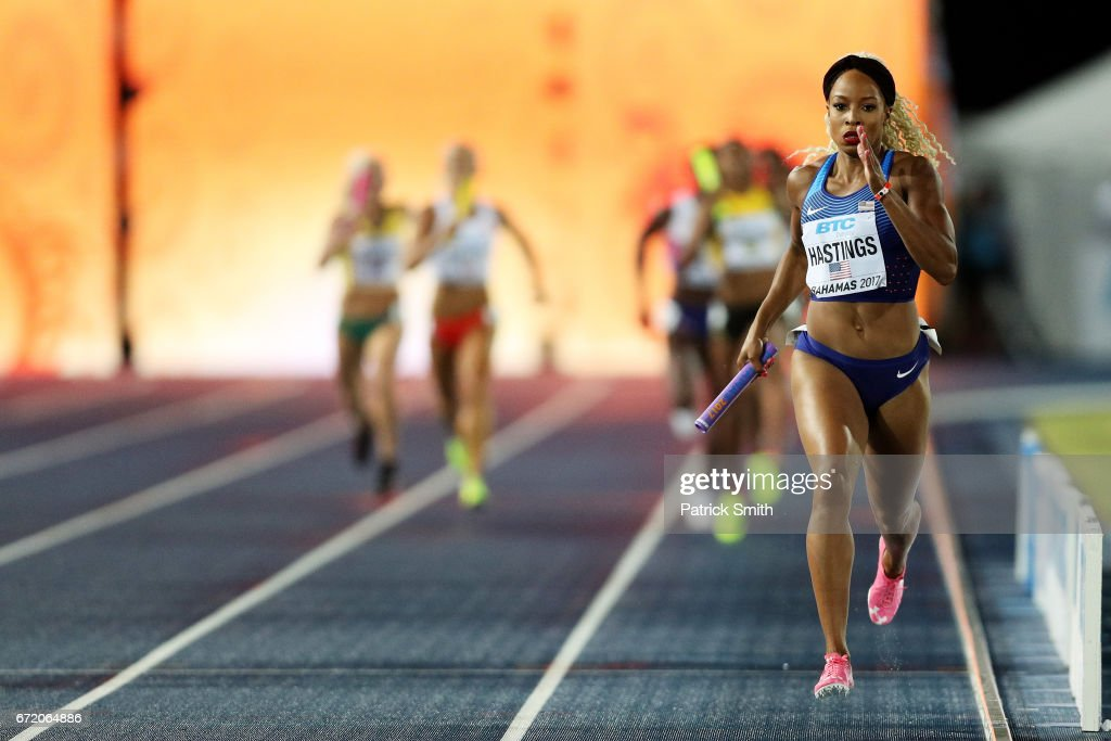 Natasha Hastings of the USA competes in the Women's 4x400 Metres Relay Final during the IAAF/BTC World Relays Bahamas 2017 at Thomas Robinson Stadium on April 23, 2017 in Nassau, Bahamas.