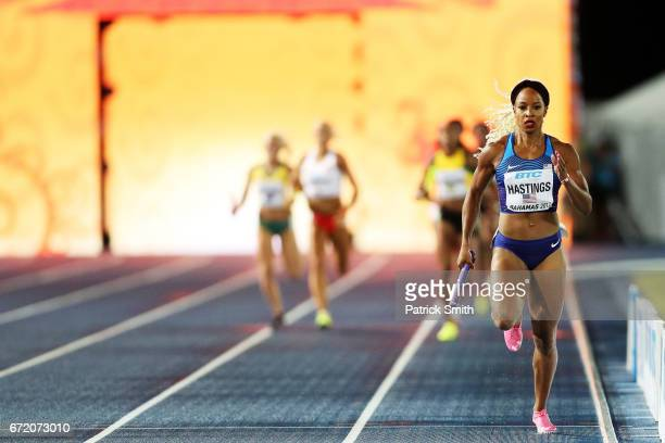 Natasha Hastings of the USA competes in the Women's 4x400 Metres Relay Final during the IAAF/BTC World Relays Bahamas 2017 at Thomas Robinson Stadium...