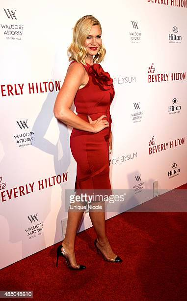 Natasha Henstridge arrives at The Beverly Hilton celebrates 60 Years with a Diamond Anniversary Party held on August 21 2015 in Beverly Hills...