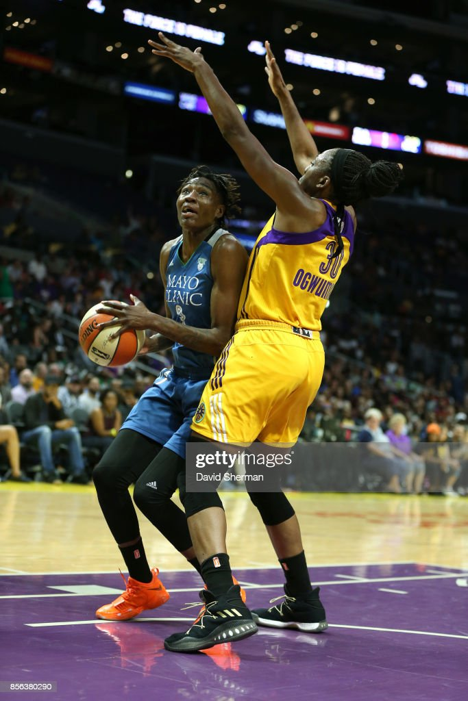 Natasha Howard #3 of the Minnesota Lynx drives to the basket against the Los Angeles Sparks in Game Three of the 2017 WNBA Finals on September 29, 2017 at the STAPLES Center in Los Angeles, California.