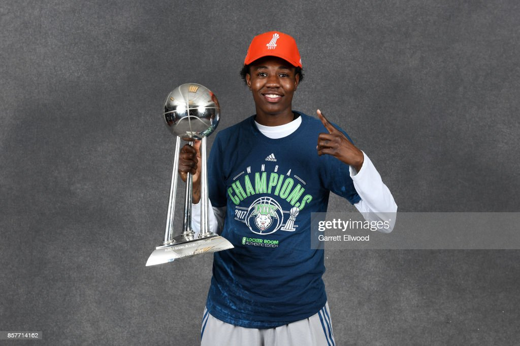 Natasha Howard #3 of the Minnesota Lynx poses for a portrait while holding the 2017 WNBA Championship trophy after the game against the Los Angeles Sparks in Game Five of the 2017 WNBA Finals on October 4, 2017 in Minneapolis, Minnesota. NOTE
