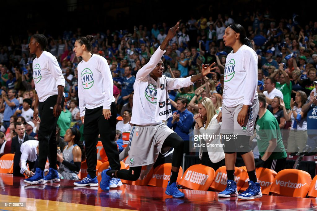 Natasha Howard #3 of the Minnesota Lynx reacts during the game against the Washington Mystics in Game Two of the Semifinals during the 2017 WNBA Playoffs on September 14, 2017 at The University of Minnesota Williams Arena in Minneapolis, Minnesota.