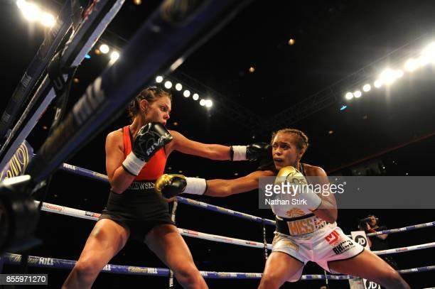 Natasha Jonas lands a shot on Bojana Libszewska during the Battle on the Mersey SuperFeatherweight fight at Echo Arena on September 30 2017 in...