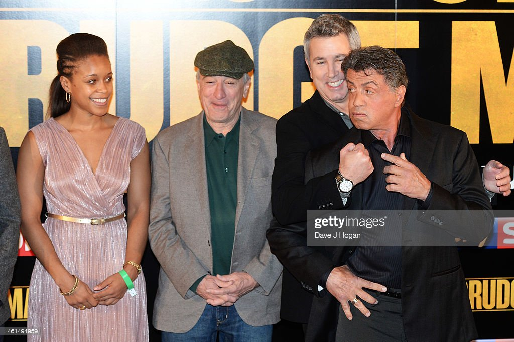 Natasha Jonas, Robert De Niro, Peter Segal and Sylvestor Stallone attend a photo call for 'Grudge Match' at The Dorchester Hotel on January 9, 2014 in London, England.